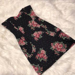 Floral mini dress strapless
